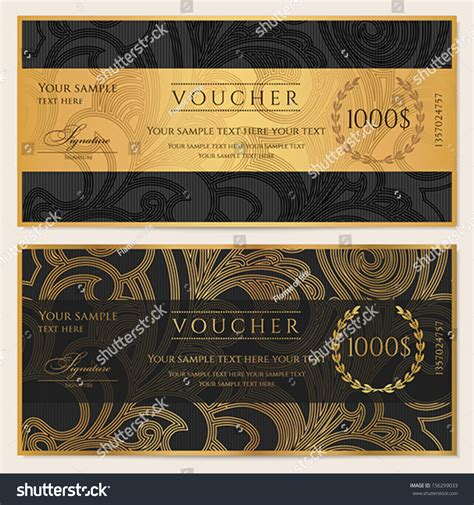 cheque voucher template voucher gift certificate coupon template floral stock