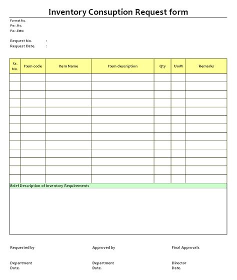 inventory request form template 11 best photos of free inventory request forms inventory