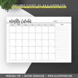 Calendar 2018 A5 Monthly Calendar 2018 Calendar A5 Inserts A4 Letter