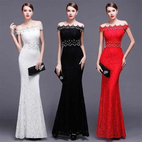 Dress Sabrina Lace Tile 1 high end sleeve boat neck evening lace dresses