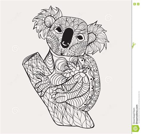 black and white coloring pages designs drawing zentangle koala for coloring page shirt design