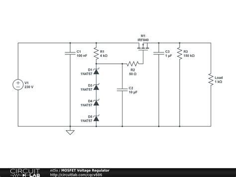 mosfet transistor voltage regulator mosfet voltage regulator schematic using ifr voltage regulator circuit diagram electronic