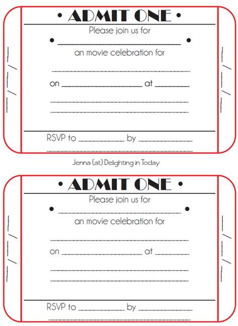 Movie Ticket Birthday Invitations Free Printable Party Time Pinterest Movie Party Ticket Layout Template Free