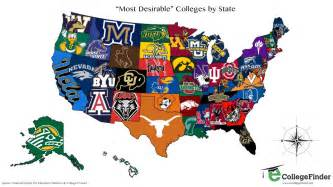 map of colleges in the most desirable college in each state map business