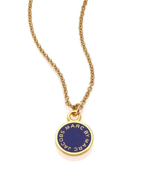 Necklace By marc by marc logo disc pendant necklace in blue lyst