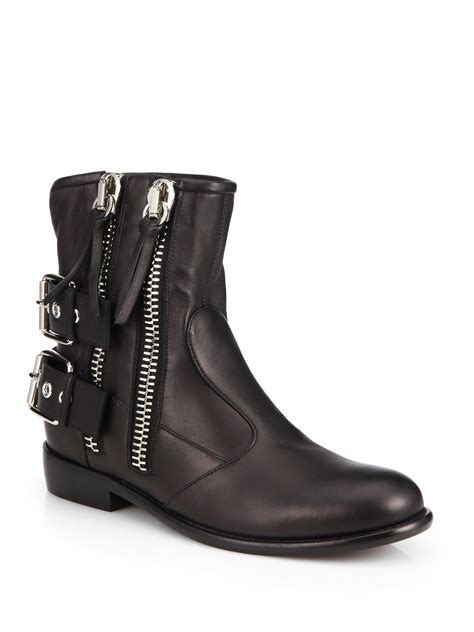 giuseppe zanotti leather zip trimmed moto ankle boots in