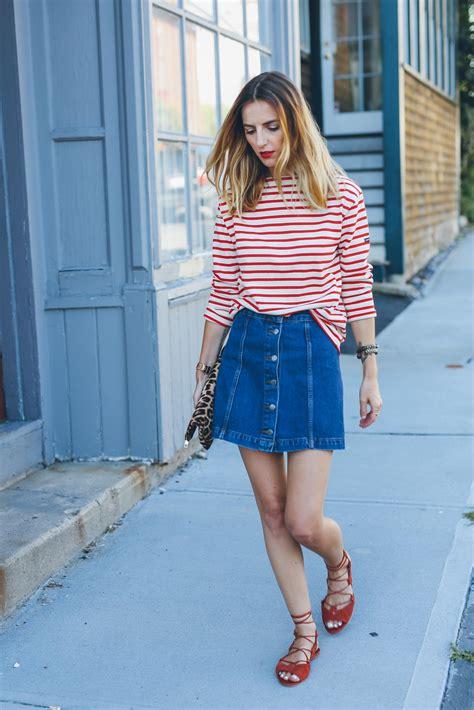 denim skirt  stripe shirt source prosecco  plaid