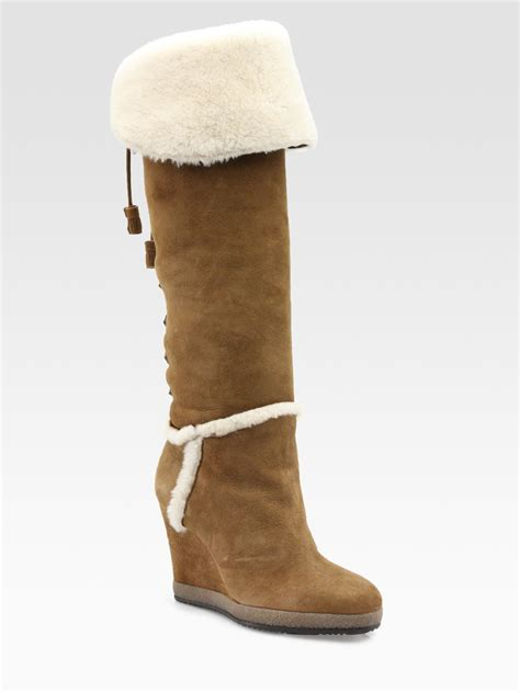moncler carole shearling and suede knee high boots in