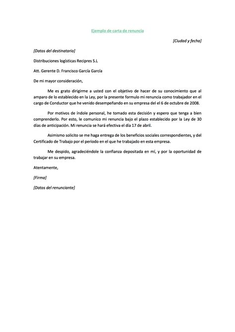 Ejemplo De Carta De Renuncia Breve Ejemplos De Carta | ejemplo de carta de renuncia ejemplos de carta
