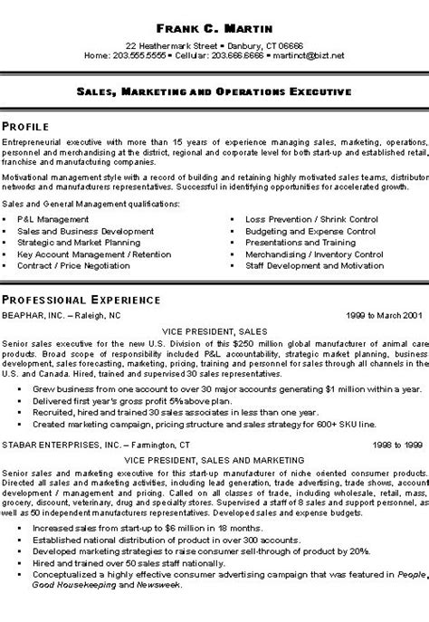 Resume Templates For Sales Executive Marketing Sales Executive Resume Exle Exles Best Resume And Marketing