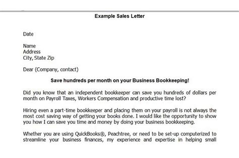 Service Sales Letter Exle Starting A Bookkeeping Business