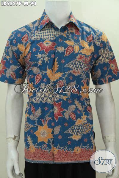 Baju Kemeja Pria Lengan Pendek 3161 Biru Motif Lengkung Slimfit High batik hem biru model lengan pendek motif bunga baju batik keren proses printing modis buat
