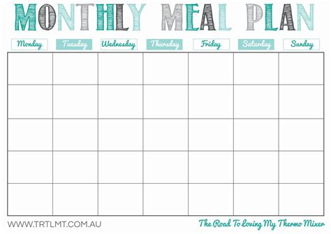printable monthly meal planner organization
