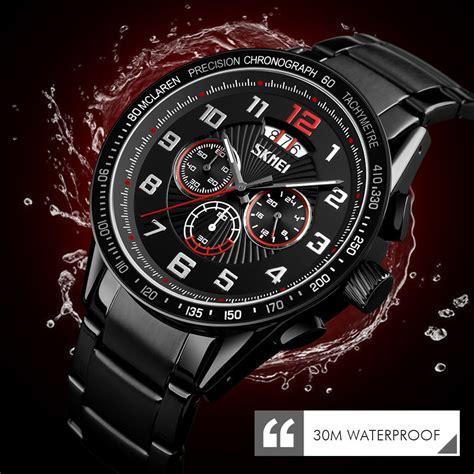 skmei jam tangan analog pria strap stainless steel