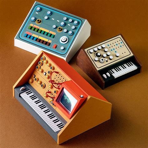 Miniature Paper Craft - miniature retro papercraft synthesizers by dan mcpharlin