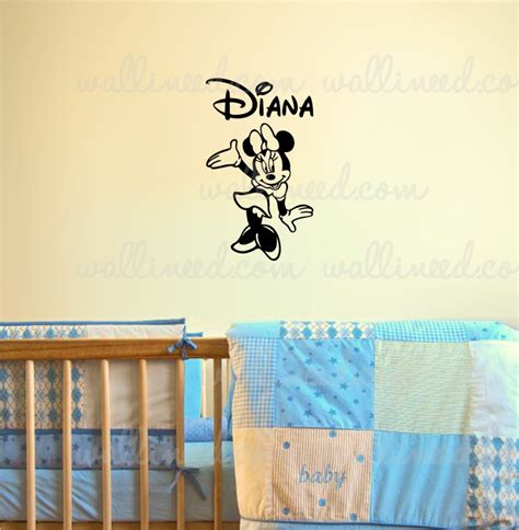customized wall stickers personalized custom name minnie mouse wall decal