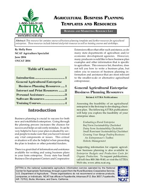 Agriculture Business Plan Template Free agricultural business planning templates and resources