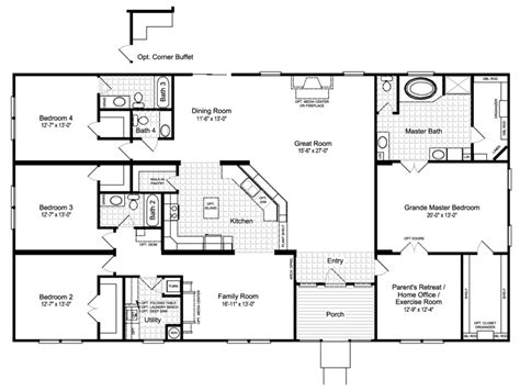 4 bedroom mobile home floor plans best ideas about manufactured homes floor plans and 4