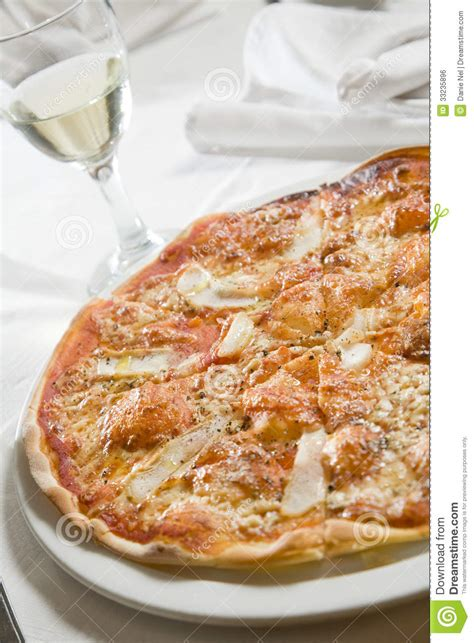 pizza and white wine royalty free stock image image 33235896