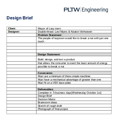 design brief and problem principles of engineering pltw