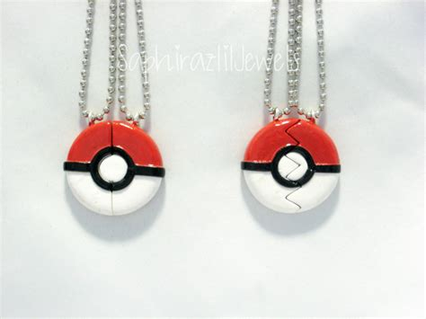 pokeball inspired bff s necklace charm