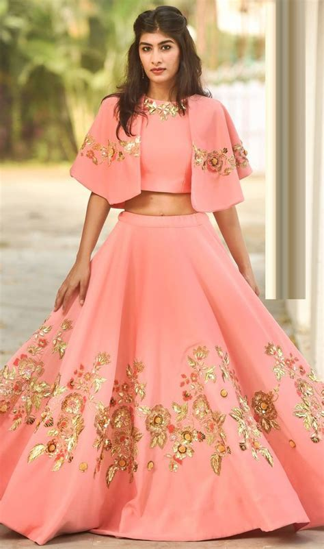 top design pink cap crop top with lehenga