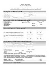 house rental application 12 best images of basic rental agreement blank form