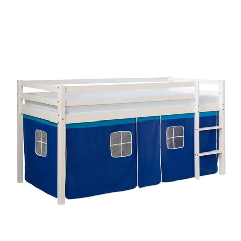 meuble etagere blanc 1457 lits superpos 233 s mezzanine 201 chelle pin massif rideau bleu