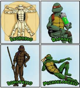 Teenage mutant ninja turtles meet their artistic counterparts