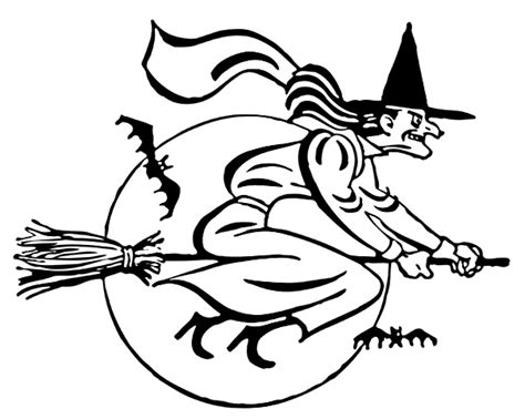 mean witch coloring page witch flying mean grin bw holiday halloween witch