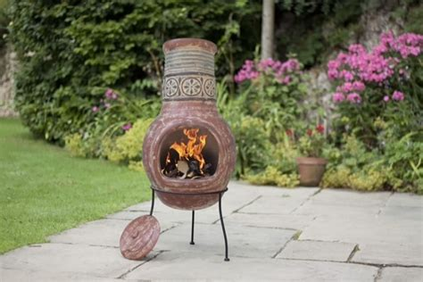 clay moroccan tile chiminea chimenea patio heater wood