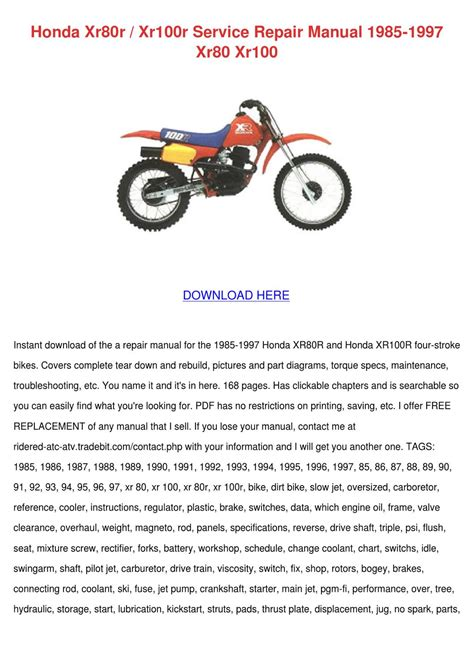 small engine repair manuals free download 1994 honda prelude electronic throttle control honda xr80r xr100r service repair manual 1985 by francisca norena issuu