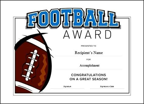 printable football award certificate template free