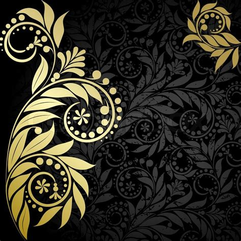 Vintage Home Decorations by Plant Wiht Gold Leaveson The Black Background Vector