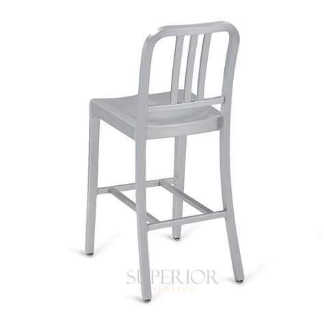 aluminum outdoor stools outdoor navy style vertical back brushed aluminum