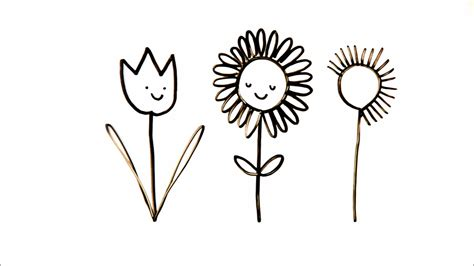 how to draw doodle flower drawing how to draw happy flowers