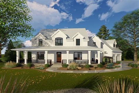 modern farm house plans modern farmhouse with angled 3 car garage 62668dj