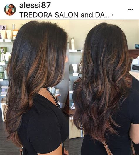 trendy to elegant black hair with caramel highlights trendy hair highlights warm balayage highlights caramel