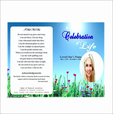 funeral card template publisher 9 free funeral program template