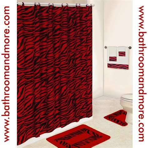 Lush red zebra print bathroom set comes complete with fabric shower