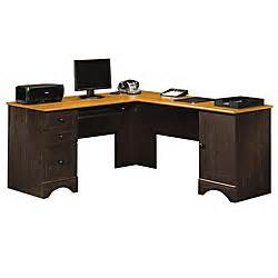 Office Depot Corner Computer Desk Sauder Harbor View Collection Corner Computer Desk Antiqued Paint By Office Depot Officemax
