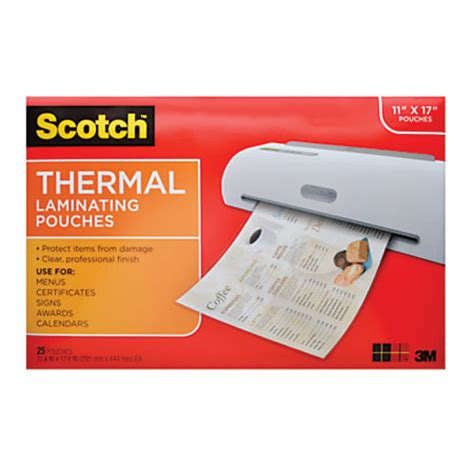 scotch tp3856 25 laminating sheets 11 12 x 17 12 clear pack of 25 by office depot officemax