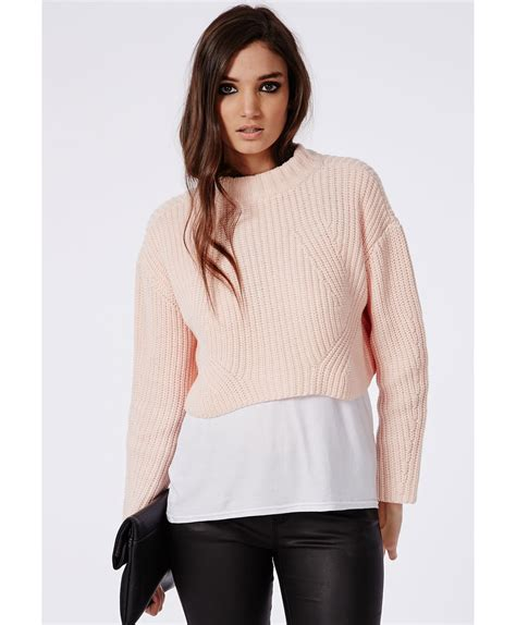cropped sweater missguided cropped high neck knitted sweater in pink