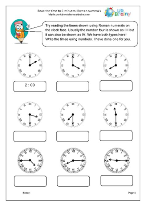 clock worksheet roman numerals roman numerals reading time to 5 minutes