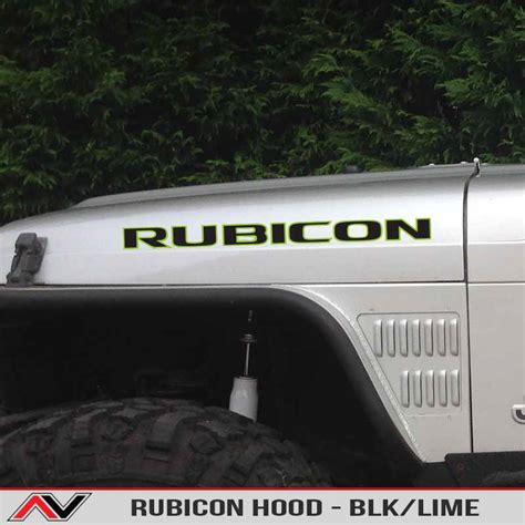 matte lime green jeep rubicon hood decal blk lime