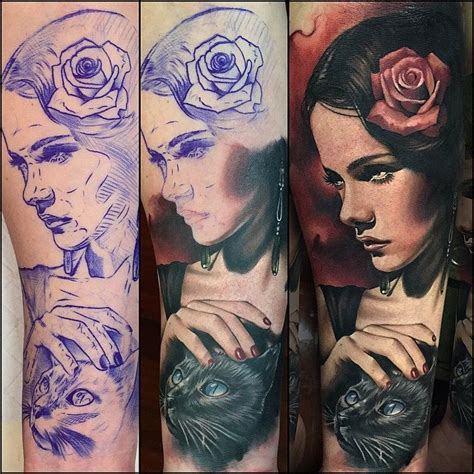 portrait sleeve tattoo designs wonderful with cat portrait design for half sleeve