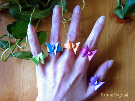 How To Make Origami Ring - origami 貂 豺 butterfly ring 貂 豺