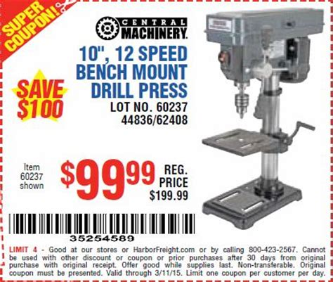 harbor freight bench press harbor freight coupon 10 quot 12 speed bench mount drill press lot no 60237 44836 62408 expires 3