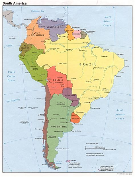 south america map with capitals and countries large political map of south america with all capitals