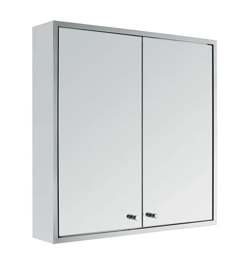Stainless Steel Double Door Wall Mount Bathroom Cabinet Stainless Steel Mirrored Bathroom Cabinet